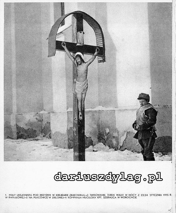 Młody legionista pod kośc. rzym.-kat. pw. św. Ludwika w Kirlibabie.
