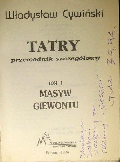 Strona tytułowa I tomu przewodnika po Tatrach autorstwa Władysława Cywińskiego (1994).